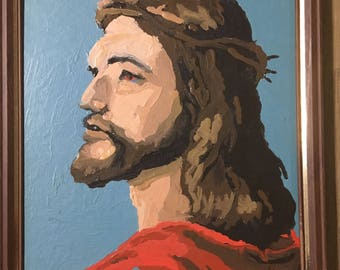 Vintage paint by number Jesus portrait framed paint by number 8 by 10 inches religious decor