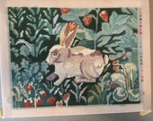 Needlepoint canvas Erica Wilson rabbit 1990 Museum of art partially finished no yarn included stretched on bars