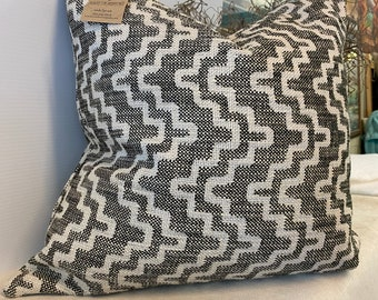 Handmade one of a kind Art Deco black/white woven in polyester pillow cover  22 by 22 inches with zipper closure