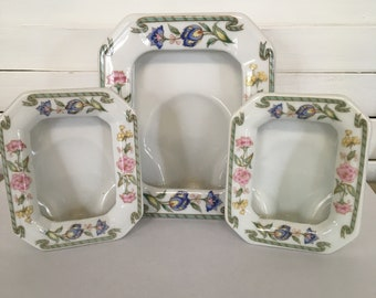 Vintage porcelain picture frames set of 3 pink white lavender green flowers design 4 by 5 inches and 3 by 3.5 inches