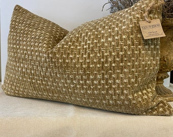 Handmade Lumbar woven textured tan cream fabric 16 x 24 inches down pillow with invisible zipper closure