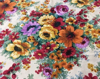Fabric by the yard vintage woven cotton fabric 1970's piece 40 by 54 inches floral print in bright colors retro fabric
