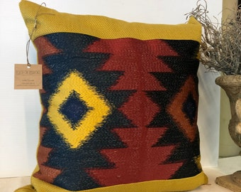 Handmade lodge cabin Southwestern Ikat in bright colors band on textured bright yellow 18 inch square  gold/yellow pattern on front and back