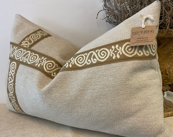 Handmade Lumbar neutral pillow in cream with embroidered tape accent 16 by 24 inches