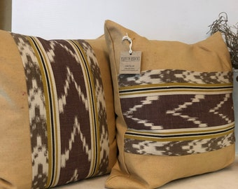Handmade cotton contemporary on gold background with Ikat rustic brown and black stripes square accent pillow covers 18 inch zipper closure
