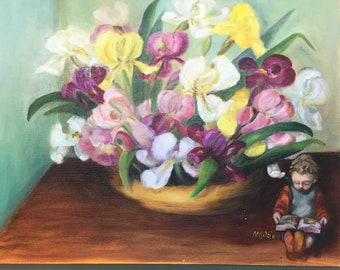 Vintage original oil Iris with tiny boy reading a book  cottage decor 16 by 20 inches canvas board Gayle Rodgers