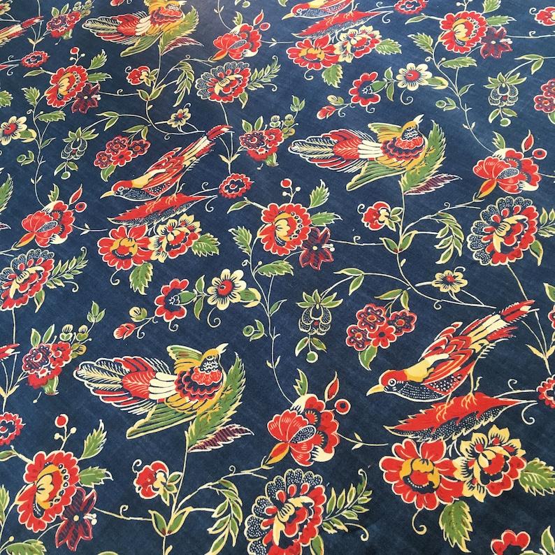 Tablecloth handmade blue cotton print square 53 inch handmade orange yellow green birds floral overlay kitchen cloth