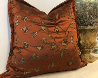 Handmade one of a kind pillow cover rust and brown silk flanged with stylized floral 22 inches square
