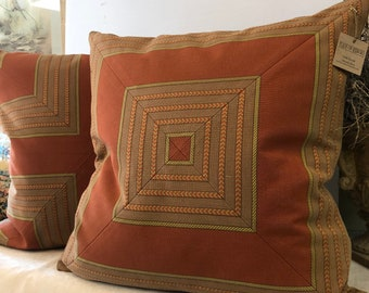 Handmade one of a kind  woven stripes  made into chevron patterns pillow covers a pair 24 inches square