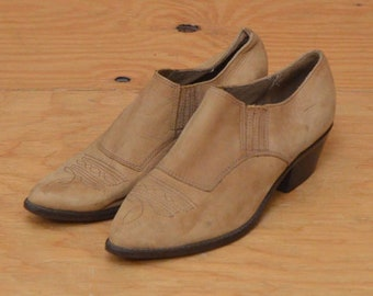Vintage 80's Leather Slip On Tan Taupe South Western Booties Size 9