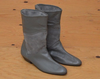 Vintage 80's Gray Leather Slouch Boot SZ 8
