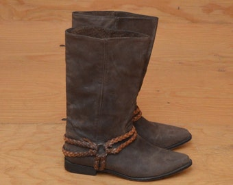 Vintage 80's Dark Brown Leather Suede Boot With Braided Detail At Ankle SZ 8.5