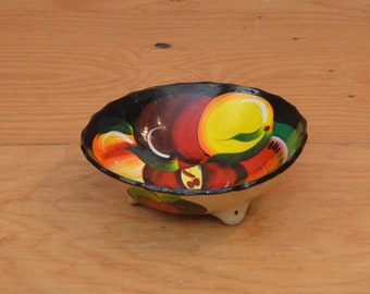 Beautiful Hand Made Stoneware From Mexico Red, Black  & Yellow Bowl With Lovely Hand Painted Fruit Detail