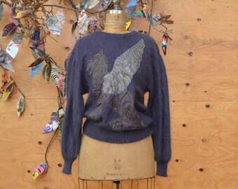 Vintage 80s Slouch Sweater Knit Escada Lilac Purple Pegasus Appliqué Size S/M