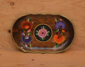 Vintage Hand Painted Mexican Wood Plate / Plater Floral Pattern SZ Large