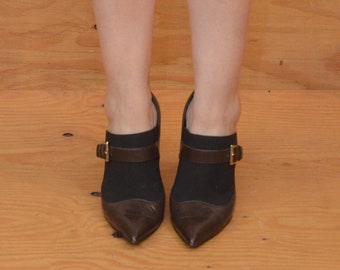 Vintage 90's Style Lovely Brown Leather High Heels Pointed Toe, Spike Heel SZ 8.5
