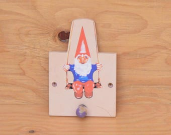 Wooden Small Gnome With Red Hat, Blue, Long White Beard Coat Hanger Hook