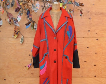 Vintage 80's Bright Red Colored Wool Patchwork Southwestern Avant Garde Coat Stunning Bold Pattern Size M/L