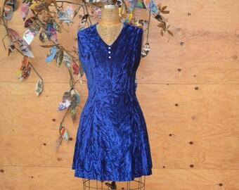 Vintage 60's Royal Blue Crushed Velvet Mini A-line Sleeveless Dress SZ S/M