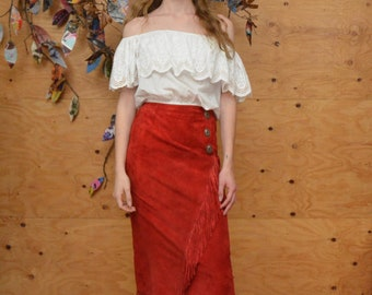 Vintage 80's Red South Western Scully Suede Fringe Faux Wrap Maxi Skirt Size Small