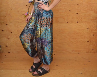 Vintage 80's Silky Turquoise Floral Tapered Genie Pants, Elastic At Cuff Size Small