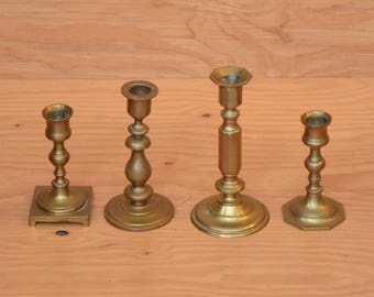 Vintage Hollywood Regency Set Of 4 Brass Candle Holders All Sizes