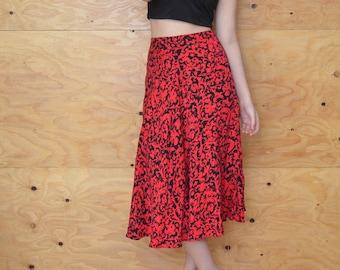 Vintage 80's Red & Black Silk A-line Bias Cut Maxi Skirt Scroll Print SZ Small