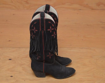 Vintage Black Southwestern Suede Cowgirl Boots Black & Red With Fringe Detail SZ 6