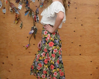 Vintage 80's Skirt Tropical Gypsy Wrap Midi In Black & Rainbow Colors With Floral Pattern SZ S