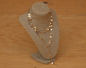 Vintage 80's Gold Circular Gypsy Style Necklace Multiple Chains