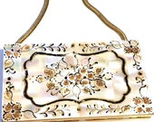 Vintage Compact Clutch Wristlet, Marhill Clutch compact, Mother of Pearl Compact, 1950s Evening Minaudiere, Compact Purse