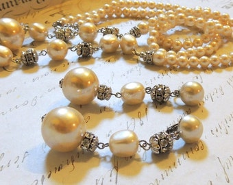 Wedding Jewelry Set Necklace Earrings Faux Pearls