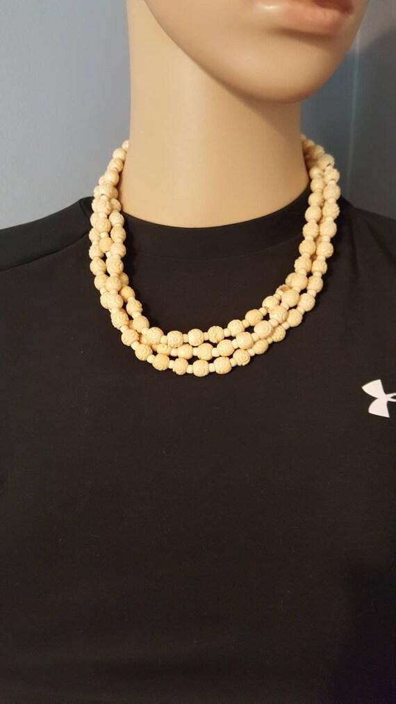 Make an Offer! Hand carved necklace, Flower neckla
