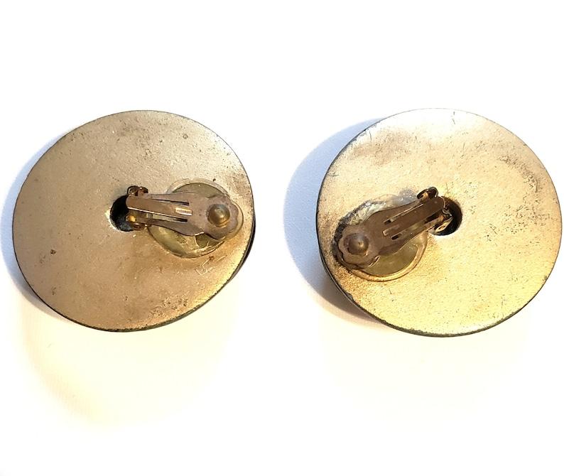 vintage jewelry Polka Dot Earrings vintage earrings 1980s Statement Earrings Large clip-on earrings Chunky Round Earrings