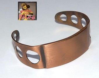 SALE! Vintage Initial Bracelet, Wide Copper Cuff Bracelet, Vintage Bracelet, Vintage Jewelry