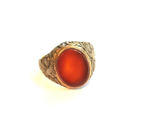 Antique Sterling Silver Carnelian Ring, Size 10 Un