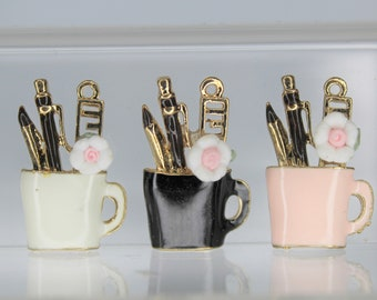 8 Mug  with utensils charms antique bronze tone BC83
