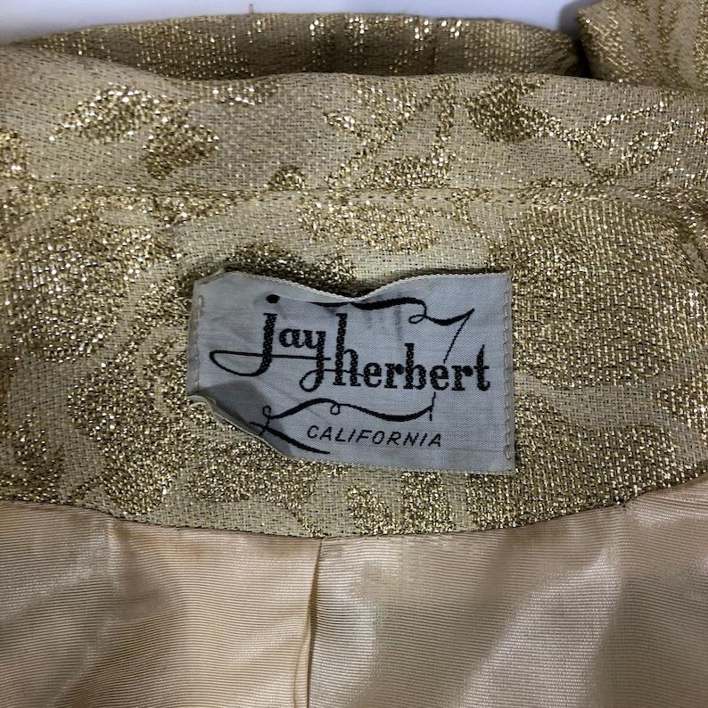VTG 50s Jay Herbert XSS Gold Metallic Brocade Dressy Suit Jacket Fitted Lined