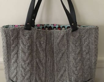 42ee88076c Gray Cable Felted Tote Bag