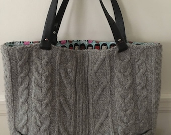 Gray Cable Felted Tote Bag