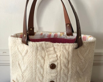 Irish Cable Felted Tote Bag
