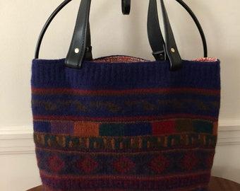 Handknit Peruvian Alpaca Felted Tote Bag