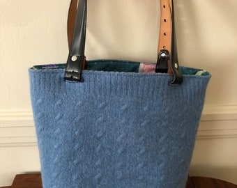 Blue Cable Felted Tote Bag
