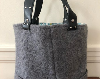 Gray Felted Tote Bag