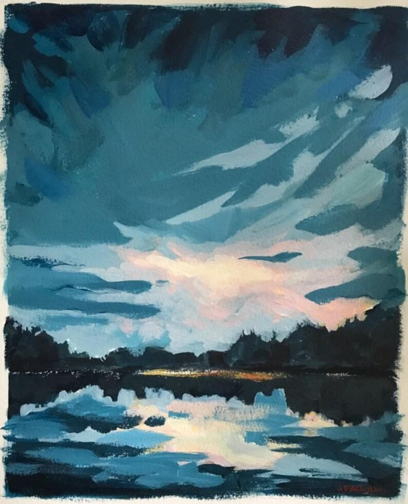 8x10 Acrylic Landscape Painting Lake House Decor Original image 0