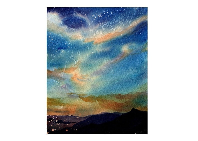 Watercolor Painting of the Stars Landscape Painting Original image 0