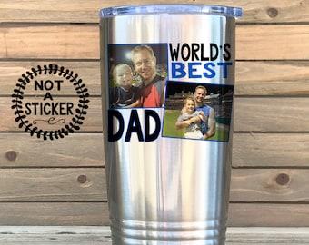 fa1e85a9dec Photo Mug, 20oz tumbler, custom tumbler, Dad photo mug, 30oz tumbler,  worlds best dad tumbler, picture of kids, fathers day travel mug