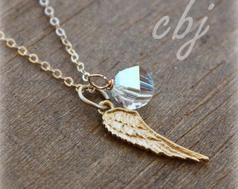 Angel Wing, Crystal Necklace, Angel Wing Pendant Necklace, Gold Tone Angel Wing Charm, Gold Angel Wing Necklace