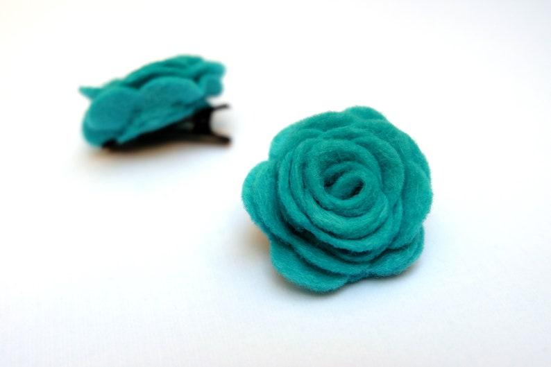 Mini Hair Clip Alligator Clips Felt rose hairclips Flower snapclips Set of 2 Turquoise Felt Rose Hairclips- Floral Clips