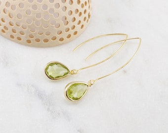 Peridot Dangle Earrings Stackeable Classy August Birthstone Gemstone and Sterling Silver Jewelry Simple Minimalist Gift for Her